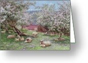 Trees Blossom Greeting Cards - Appleblossom Greeting Card by William Biscombe Gardner