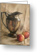 Pitcher Painting Greeting Cards - Apples and Pitcher Greeting Card by Anna Bain
