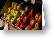 Manhattan Greeting Cards - Apples For Sale On Fruit Stand Greeting Card by Debbie Rabinowitz