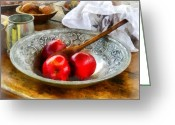 Wooden Bowls Greeting Cards - Apples in a Silver Bowl Greeting Card by Susan Savad