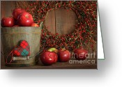 Eat Greeting Cards - Apples in wood bucket for holiday baking Greeting Card by Sandra Cunningham