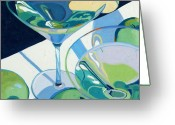Glass Greeting Cards - Appletini Greeting Card by Christopher Mize