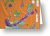 Block Quilts Greeting Cards - Applique 10 Greeting Card by Eileen Hale