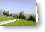 Dry Stone Wall Greeting Cards - Approach to Air Cottage near Ilam Greeting Card by Rod Johnson
