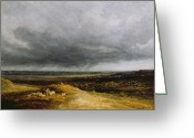 Shepherdess Painting Greeting Cards - Approaching Storm Greeting Card by Georges Michael