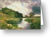Thomas Moran Greeting Cards - Approaching Storm Greeting Card by Thomas Moran