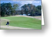 Golf Green Greeting Cards - Approaching the 18th Green Greeting Card by Thomas Marchessault