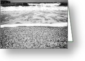 Beach Scenery Photo Greeting Cards - Approaching wave - black and white Greeting Card by Hideaki Sakurai