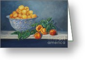 Fine Art - Still Lifes Greeting Cards - Apricots and Peaches Greeting Card by Enzie Shahmiri