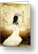 Romanticism Digital Art Greeting Cards - April in Paris Greeting Card by Shanina Conway
