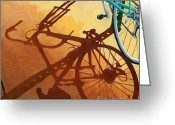 Bicycle Art Greeting Cards - Aqua Angle Greeting Card by Linda Apple