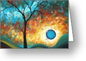 Surreal Tapestries Textiles Greeting Cards - Aqua Burn by MADART Greeting Card by Megan Duncanson