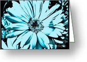 Wrap...floral Greeting Cards - Aqua Daisy Blue Greeting Card by Marsha Heiken