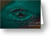 Reflection Greeting Cards - Aqua Drop Greeting Card by Nadya Ost
