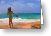 Playing On Beach Greeting Cards - Aqua Seas Greeting Card by Patti Siehien