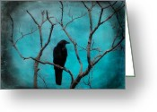 Passerines Greeting Cards - Aqua Twilight Greeting Card by Gothicolors With Crows