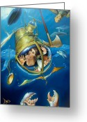 Dolphin Greeting Cards - AQUARIA RISING from Mask of the Ancient Mariner Greeting Card by Patrick Anthony Pierson