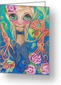 Surrealist Greeting Cards - Aquatic Mermaid Greeting Card by Jaz Higgins