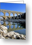 Romans Greeting Cards - Aqueduc du Pont du Gard.Provence Greeting Card by Bernard Jaubert