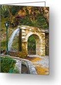 Pelion Greeting Cards - Aqueduct and water falling Greeting Card by George Messaritakis
