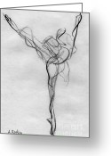 Ballet Dancer Greeting Cards - Arabesque Bright Greeting Card by Ann Radley