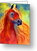 Equine Watercolor Portrait Greeting Cards - Arabian horse 5 painting Greeting Card by Svetlana Novikova