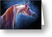 Mystical Drawings Greeting Cards - Arabian horse equine painting Greeting Card by Svetlana Novikova