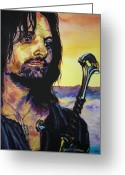 Aragorn Greeting Cards - Aragorn and golden sunset Greeting Card by Yulia Litvinova
