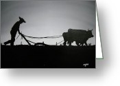 Campesino Greeting Cards - Arando con Bueyes Greeting Card by Edwin Alverio