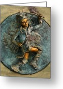 American Reliefs Greeting Cards - Arapaho Dancer from Snowy Range Life Greeting Card by Dawn Senior-Trask