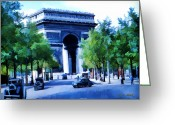 Kodachrome Greeting Cards - Arc de Triomphe 1954 Greeting Card by Chuck Staley