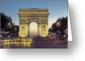 City Lights And Lighting Greeting Cards - Arc De Triomphe And The  Champs-elysees Greeting Card by Richard Nowitz