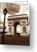 Champs Elysees Greeting Cards - Arc de Triomphe Greeting Card by Kathy Yates