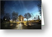 Dusk Greeting Cards - Arc Of Triumph Greeting Card by Pascal Laverdiere