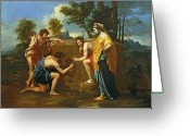 Shepherds Greeting Cards - Arcadian Shepherds Greeting Card by Nicolas Poussin