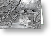 Connecticut Winter Scene Greeting Cards - Arch Bridge Over Frozen River In Winter Greeting Card by Enzo Figueres