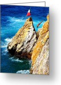 Water Athletes Greeting Cards - Arch of a Diver Greeting Card by Karen Wiles
