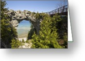 Great Point Greeting Cards - Arch Rock On Mackinac Island, Michigan Greeting Card by Richard Nowitz