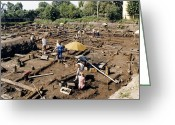 1300s Greeting Cards - Archaeological Site, Novgorod, Russia Greeting Card by Ria Novosti
