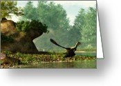 Theropod Greeting Cards - Archaeopteryx On Fishing Trip Greeting Card by Daniel Eskridge