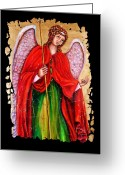 Archangel Mixed Media Greeting Cards - Archangel Gabriel fresco Greeting Card by OLena Art