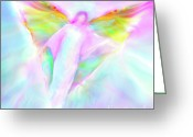 Healing Art Greeting Cards - Archangel Gabriel in Flight Greeting Card by Glenyss Bourne