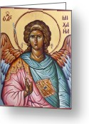 Byzantine Icon Greeting Cards - Archangel Michael Greeting Card by Julia Bridget Hayes