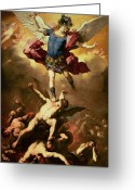 Cherubs Greeting Cards - Archangel Michael overthrows the rebel angel Greeting Card by Luca Giordano