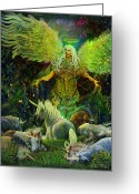 Unicorn Art Greeting Cards - Archangel Raphael Protector of Unicorns Greeting Card by Steve Roberts