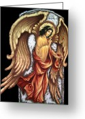 Byzantine Icon Greeting Cards - Archangrl Gabriel Greeting Card by Iosif Ioan Chezan