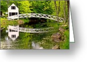 Harbors Greeting Cards - Arched Bridge-Somesville Maine Greeting Card by Thomas Schoeller