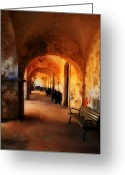 Old San Juan Greeting Cards - Arched Spanish Hall Greeting Card by Perry Webster