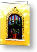 Darian Day Greeting Cards - Arched Window by Darian Day Greeting Card by Olden Mexico