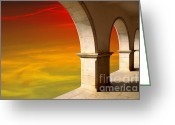 Archway Greeting Cards - Arches at Sunset Greeting Card by Carlos Caetano